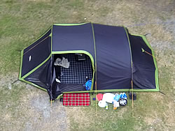 Aerial view of a green and black Vango Beta 450xl tent